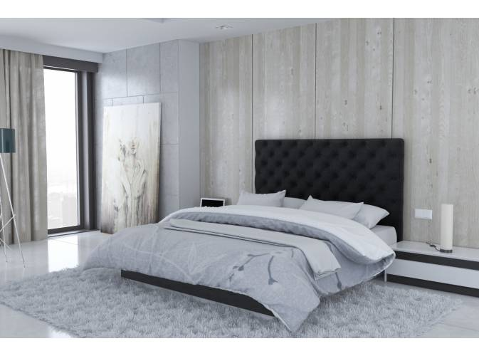 t te de lit en microfibre noir londres. Black Bedroom Furniture Sets. Home Design Ideas
