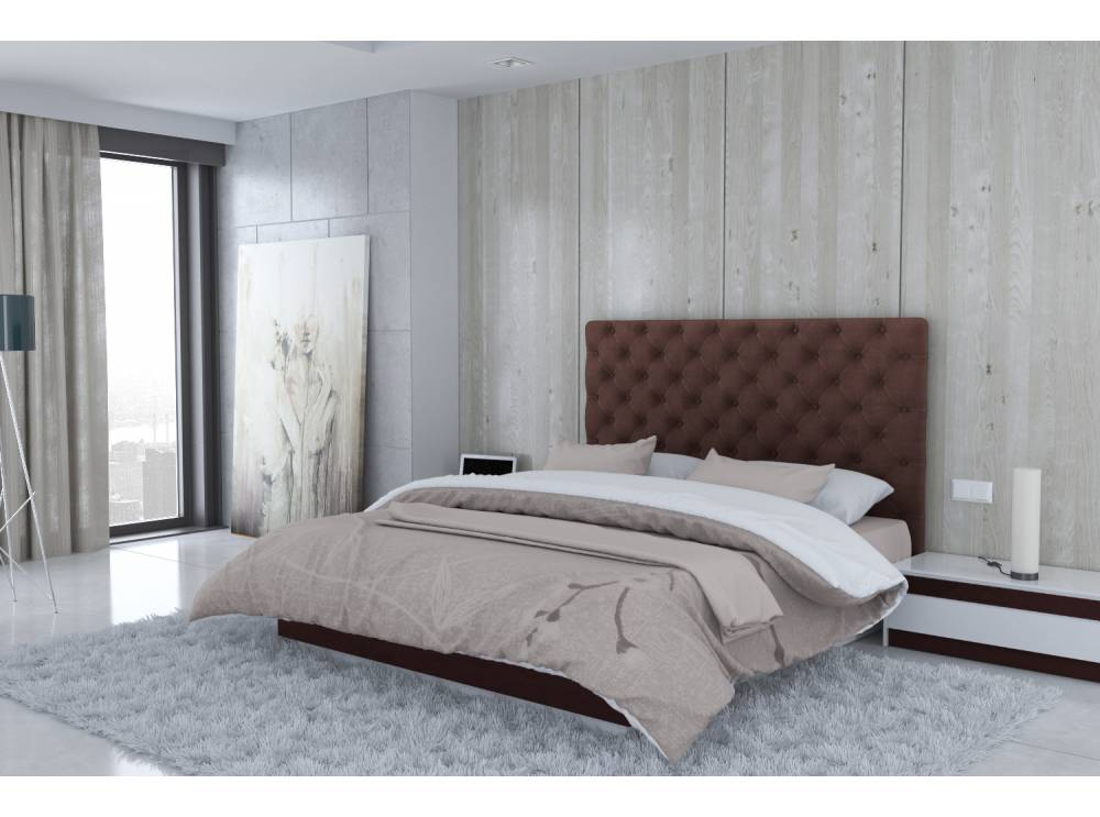 t te de lit en microfibre marron madrid. Black Bedroom Furniture Sets. Home Design Ideas