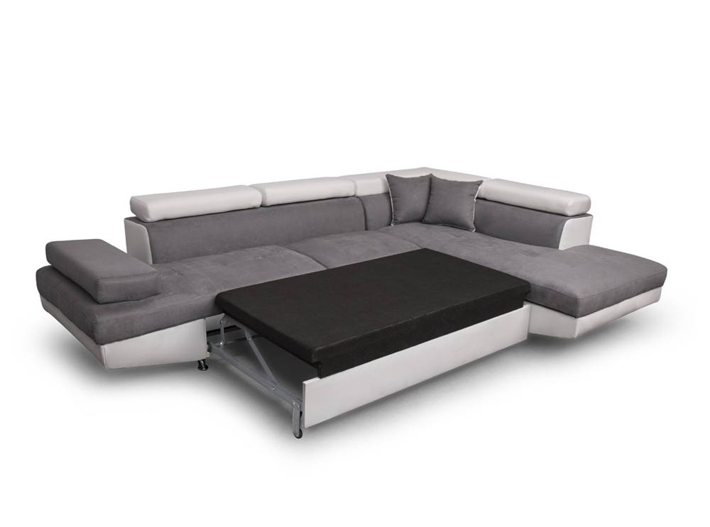 canap d 39 angle droit rio convertible avec coffre blanc gris usinestreet. Black Bedroom Furniture Sets. Home Design Ideas