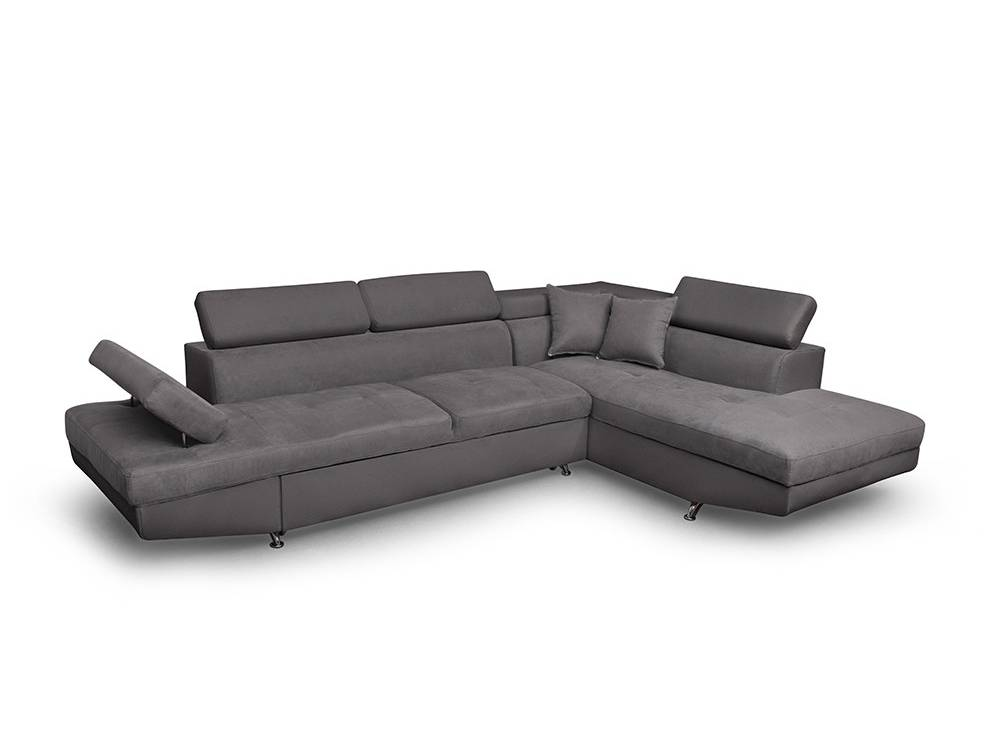 canap d 39 angle droit convertible avec coffre en microfibre gris rio. Black Bedroom Furniture Sets. Home Design Ideas