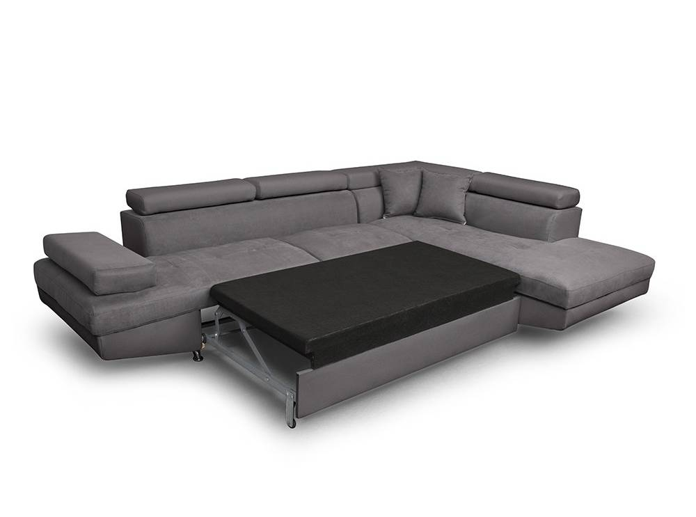 canap d 39 angle droit convertible avec coffre en microfibre. Black Bedroom Furniture Sets. Home Design Ideas