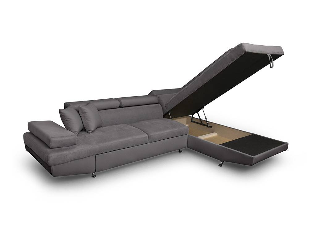 canap d 39 angle droit rio convertible avec coffre en microfibre gris usinestreet. Black Bedroom Furniture Sets. Home Design Ideas