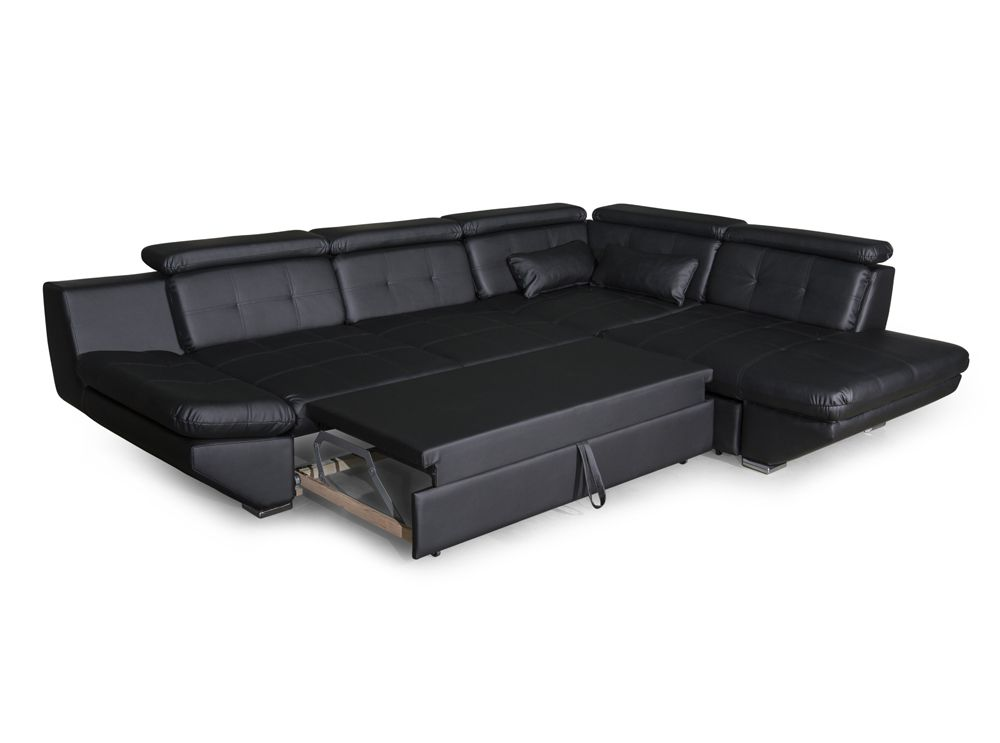 canap convertible avec tiroir en simili cuir noir bali. Black Bedroom Furniture Sets. Home Design Ideas
