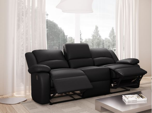 canap relaxation 3 places simili cuir detente usinestreet. Black Bedroom Furniture Sets. Home Design Ideas