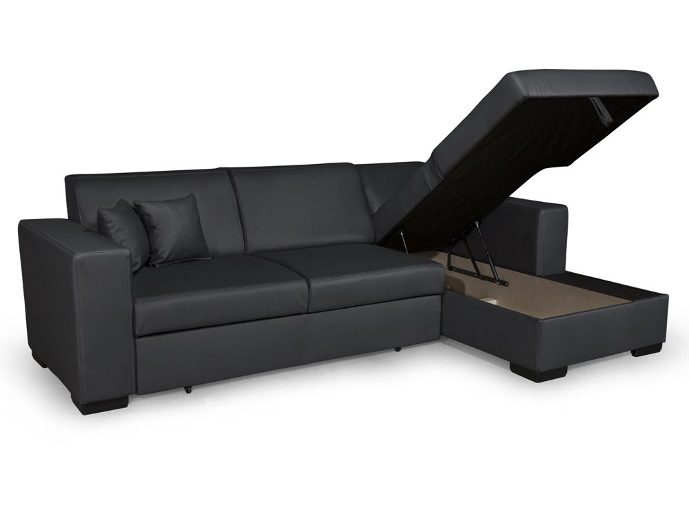 canap d 39 angle 4 places simili cuir tendance. Black Bedroom Furniture Sets. Home Design Ideas
