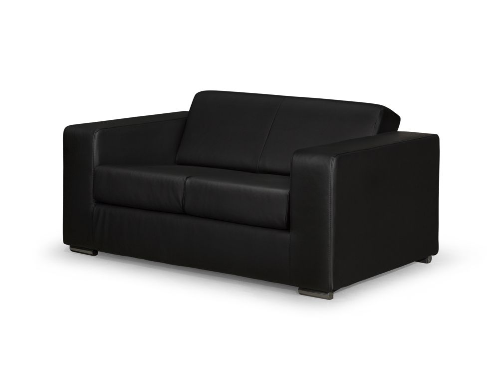 Canap design 2 places en simili cuir noir - Canape droit 2 places ...