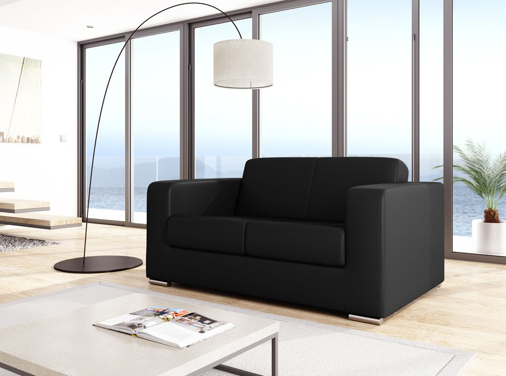 Canap design 2 places en simili cuir noir for Canape cuir noir design