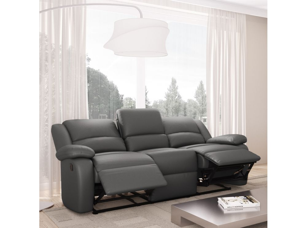 canape cuir 3 places relax maison design. Black Bedroom Furniture Sets. Home Design Ideas