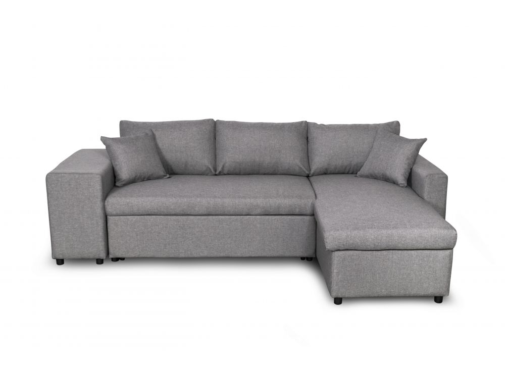 canap d 39 angle convertible en lit avec poufs oslo gris clair. Black Bedroom Furniture Sets. Home Design Ideas