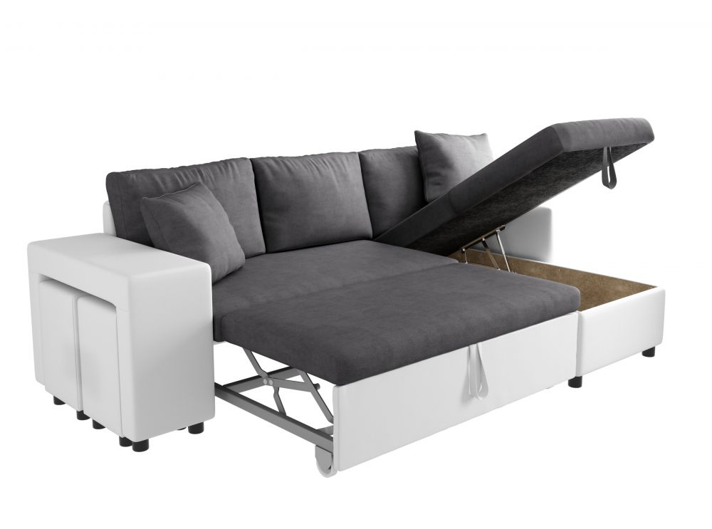 canape dangle convertible en lit avec poufs oslo gris blanc