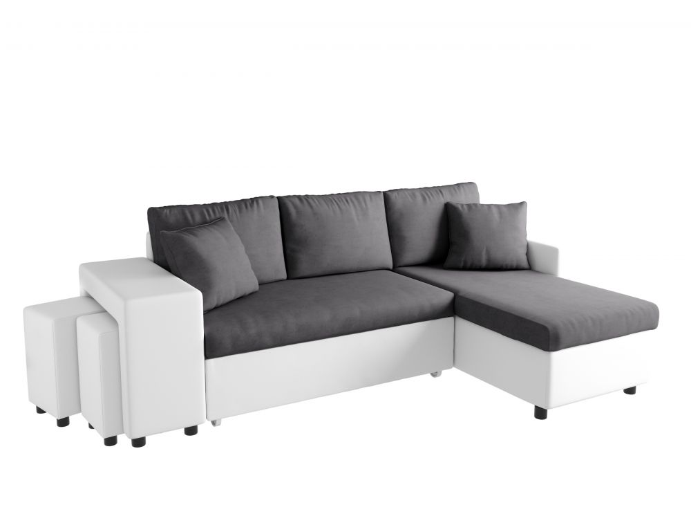 canap d 39 angle convertible en lit avec poufs oslo gris blanc. Black Bedroom Furniture Sets. Home Design Ideas