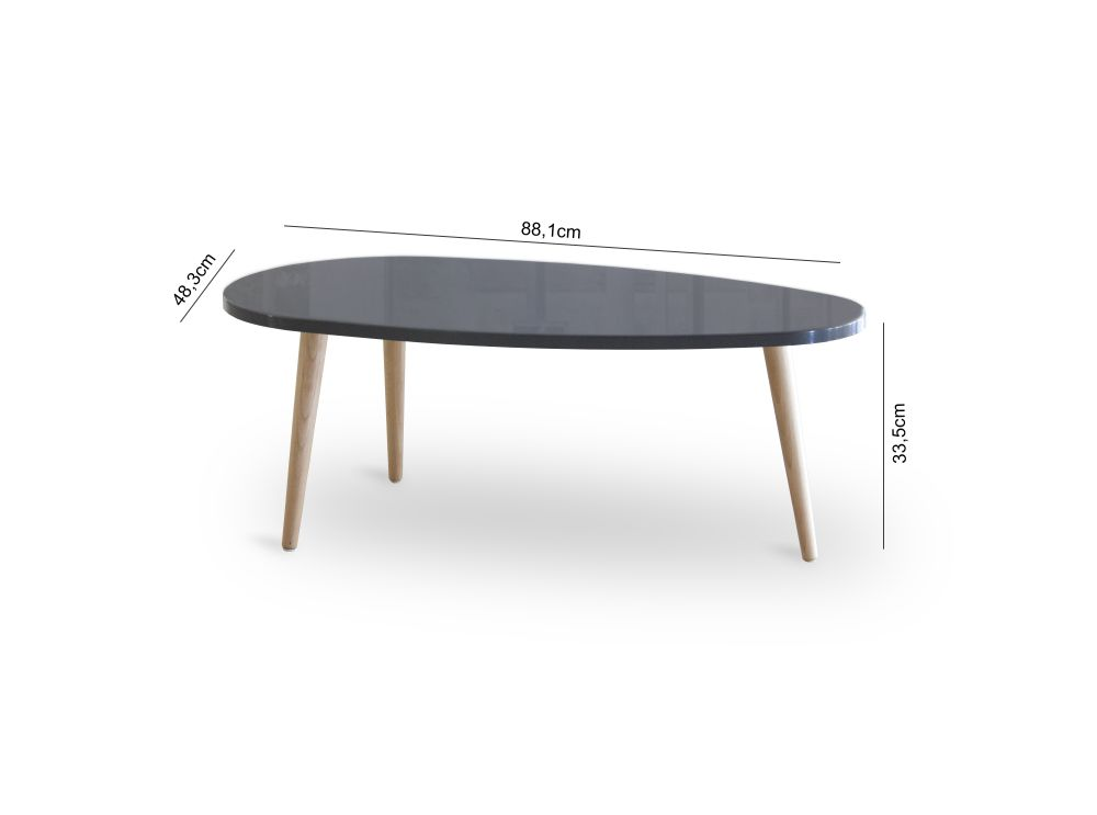 table basse style scandinave woody laqu e avec pieds bois massif. Black Bedroom Furniture Sets. Home Design Ideas
