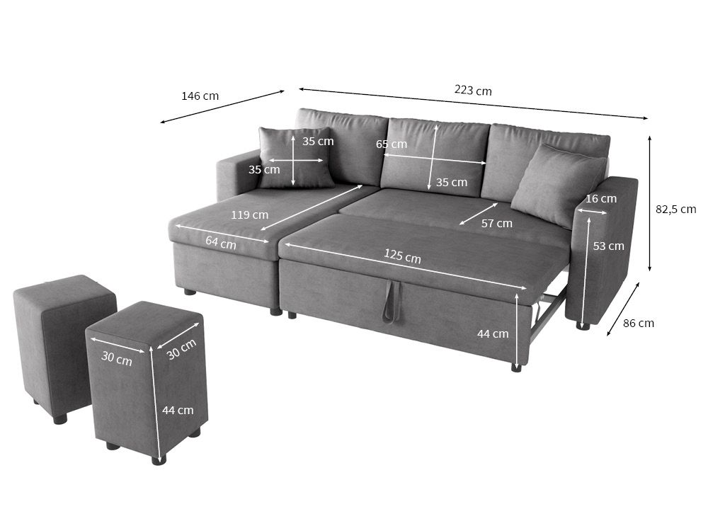 canap d 39 angle convertible avec poufs en microfibre gris guest. Black Bedroom Furniture Sets. Home Design Ideas