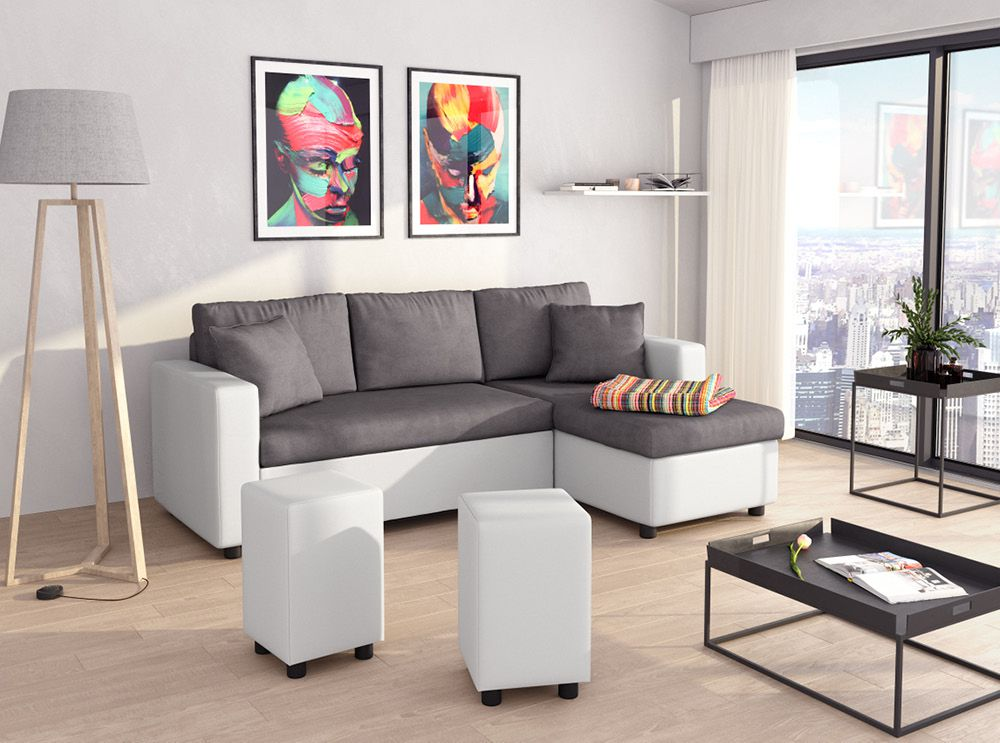 canap d 39 angle convertible blanc et gris avec poufs guest. Black Bedroom Furniture Sets. Home Design Ideas