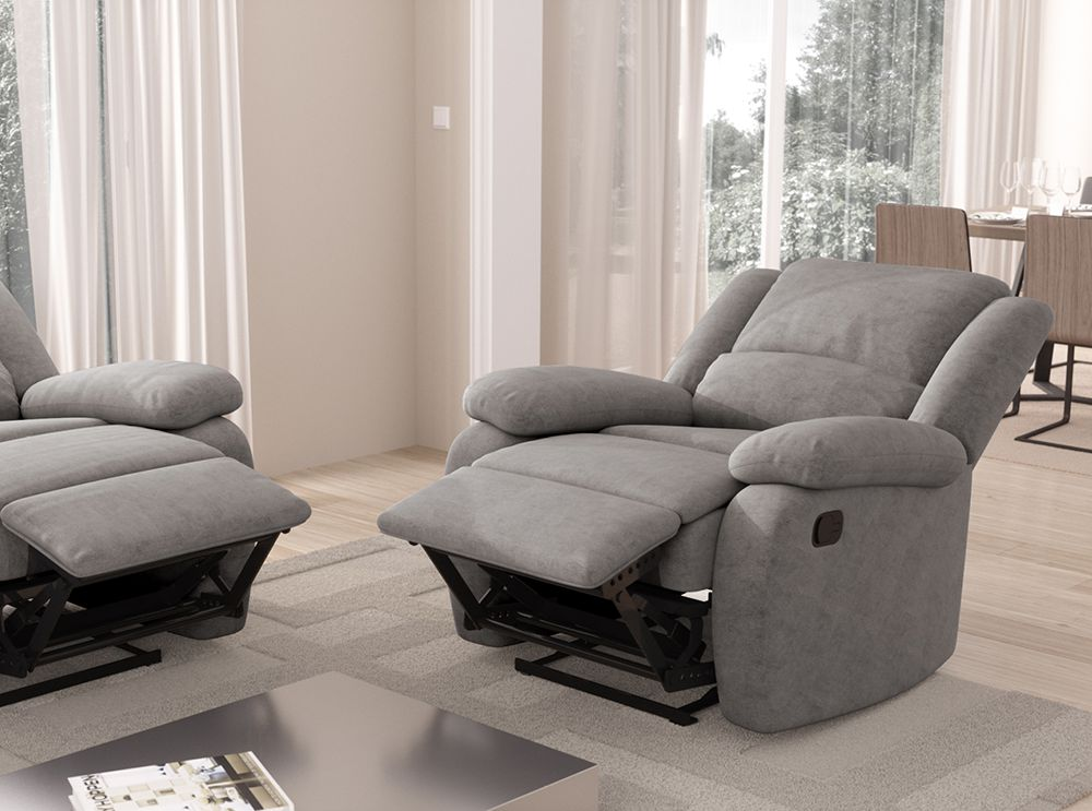fauteuil relaxation 1 place microfibre grise detente. Black Bedroom Furniture Sets. Home Design Ideas
