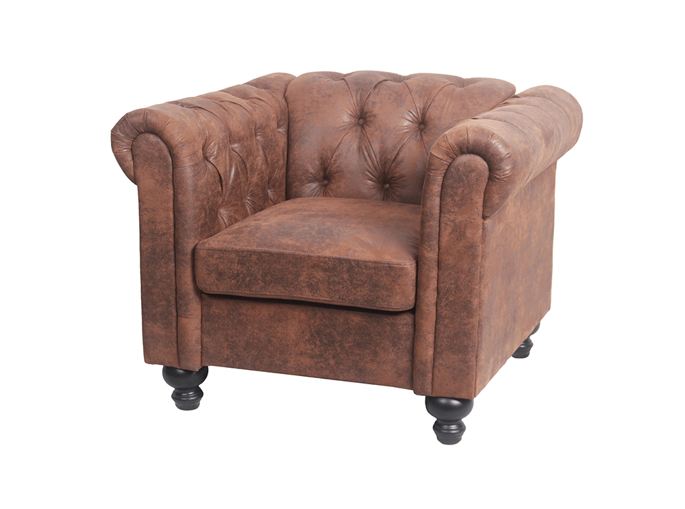 Fauteuil Chesterfield ALFRED En Microfibre