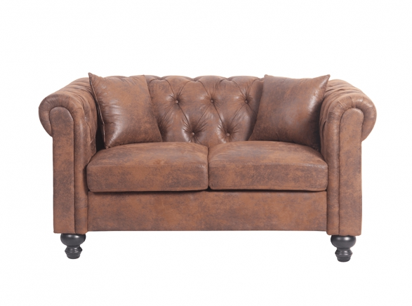 Canapé Chesterfield ALFRED 2 places en microfibre marron