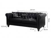 Canapé Chesterfield ALFRED 3 places en simili
