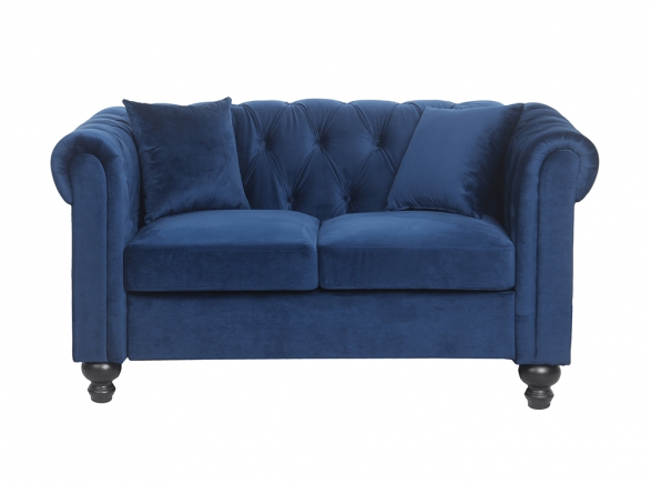 Canapé Chesterfield ALFRED 2 places en velours bleu