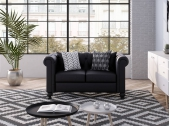 Canapé Chesterfield ALFRED 2 places en simili noir