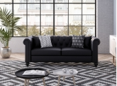Canapé Chesterfield ALFRED 3 places en simili noir