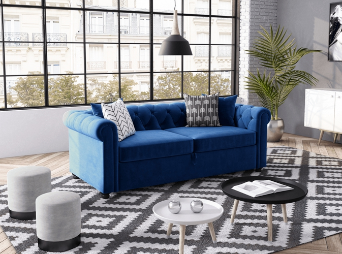canap convertible 3 places chesterfield alfred en velours. Black Bedroom Furniture Sets. Home Design Ideas