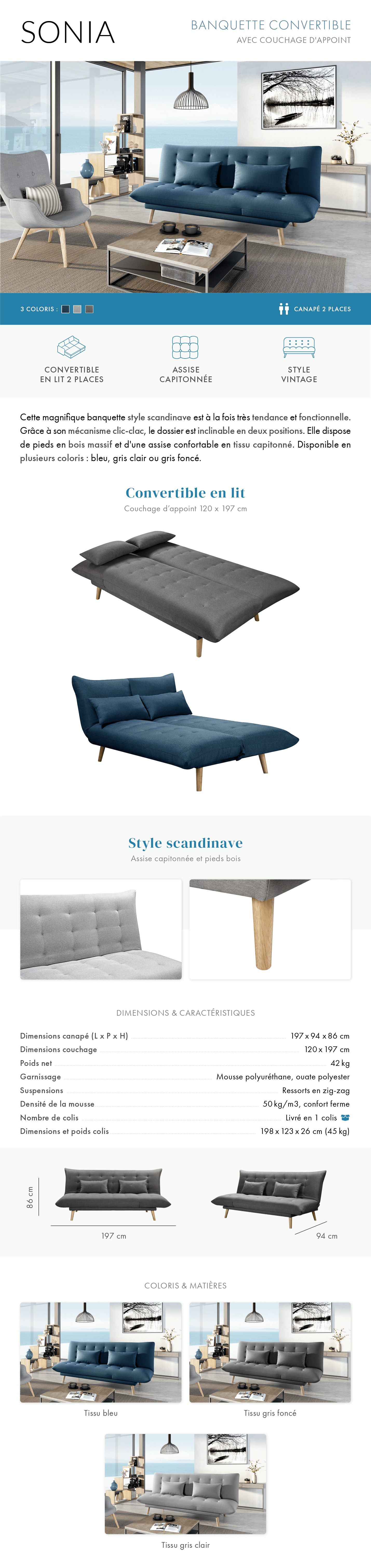 Banquette convertible scandinave sonia